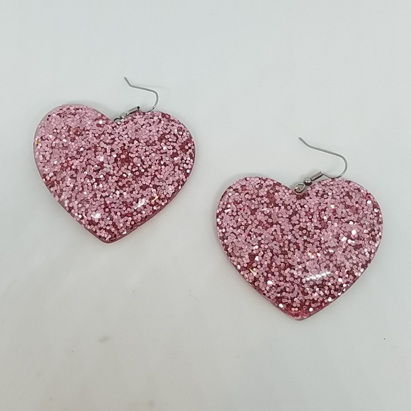 GASOLINE GLAMOUR Jewelry - Crazy cupid pink glitter heart earrings new